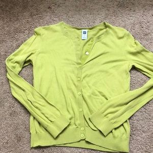Chartreuse button up sweater size S